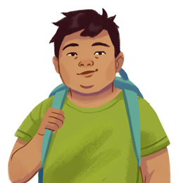 A brown-haired boy with a green shirt and a blue backpack