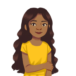 A dark-skinned girl with long dark hair and a yellow top